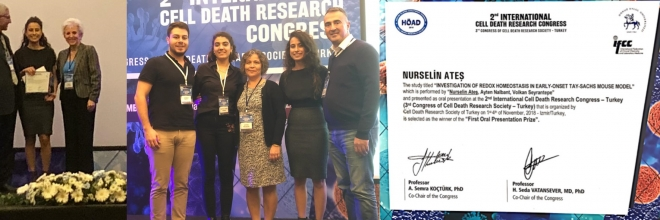 Our Graduate Student Nurselin Ateş receives First Price for Oral Presentation in 2nd International Cell Death Research Congress